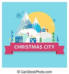 Christmas city postcard