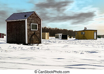 Ice Fishing Shed - Temporary shacks used for ice fishing...