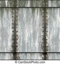 Green Riveted Metal - Seamless worn green metal texture with...
