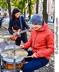 Male performance of street musicians - Music street male...
