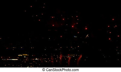 Fireworks flashing in the night sky