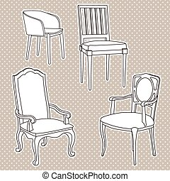 Vector pattern with armchairs
