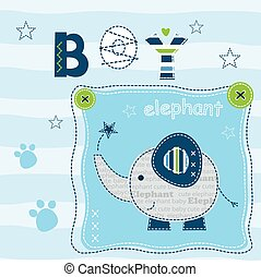 Baby background with cute elephant for t-shirt design, baby...