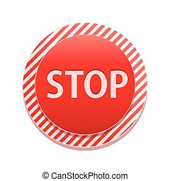 Stop sign - Red Round Stop Sign Vector Illustration