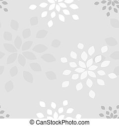 Stylized flower seamless pattern. Petals light grey textile...