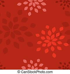 Stylized flower seamless pattern. Petals red textile fabric...