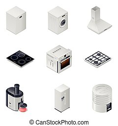 Household appliances detailed isometric icons set, part 1