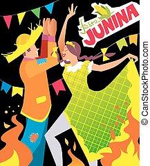 festa junina poster - Girl and boy dancing at Brazil june...