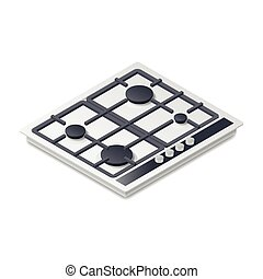 Gas-stove detailed isometric icon vector graphic...