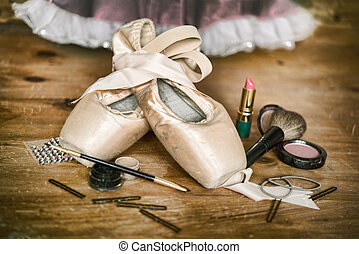 A Ballerinas Pointe Shoes and Makeup - Backstage a...