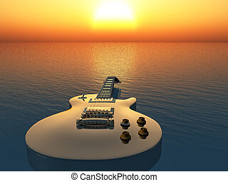 electric guitar on the sea