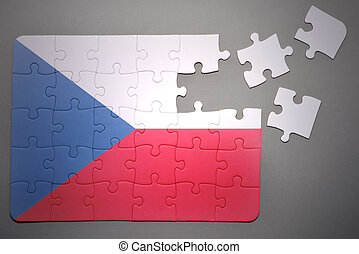 puzzle with the national flag of   czech republic