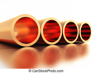 Copper - four copper pipes made in 3D