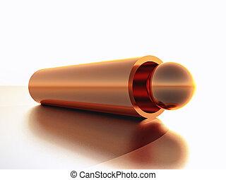 Copper - a copper sphere inside a copper tube in 3d...