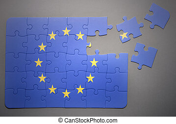 puzzle with the national flag of european union