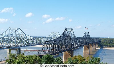 Mississippi River Bridges - two bridges across Mississippi...
