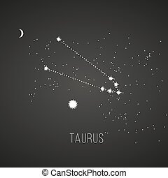 Astrology sign Taurus on chalkboard background Zodiac...