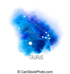 Astrology sign Taurus on watercolor background - Astrology...