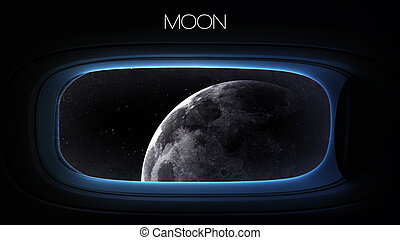 Moon - Beauty of solar system planet in spaceship window...
