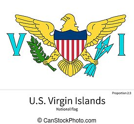 National flag of US Virgin Islands with correct proportions,...