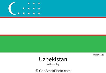 National flag of Uzbekistan with correct proportions,...