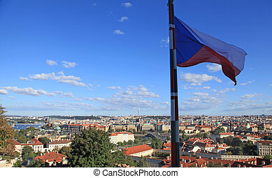 Czech flag and panorama of Prague, Czech Republic - big...