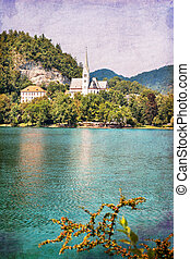 Bled Slovenia - Famous Bled lake in Slovenia with old...