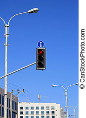 red traffic light - Red traffic lights with arrow against...