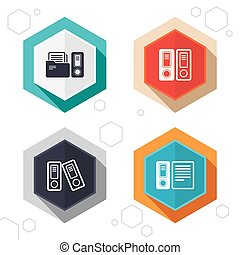 Accounting icons Document storage in folders - Hexagon...