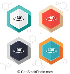 Angle degrees icons Geometry math signs - Hexagon buttons...