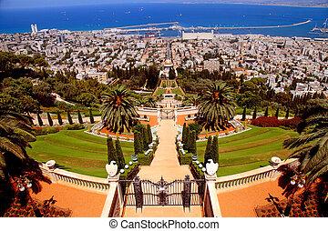 Bahai Gardens in Haifa, Israel - Beautiful panoramic...