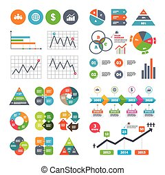 Business signs Graph chart and globe icons - Business data...