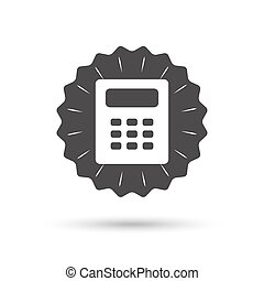 Calculator sign icon Bookkeeping symbol - Vintage emblem...