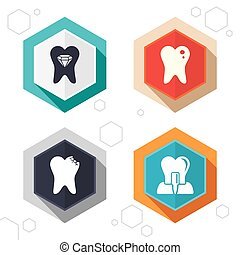 Dental care icons. Caries tooth and implant. - Hexagon...