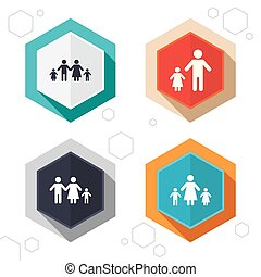Family with two children sign Parents and kids - Hexagon...