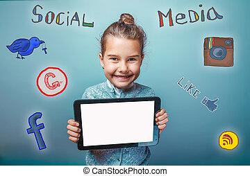 teen girl social media infographics sketch He keeps smiling...