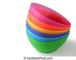 Plastic Boxes - Colorful plastic boxes in a stack isolated...
