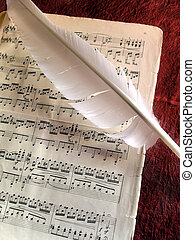 Vintage Partiture - Old music partiture and white feather...