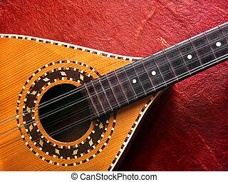 mandolina, encima, rojo