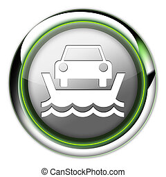 Icon, Button, Pictogram Vehicle Ferry - Icon, Button,...
