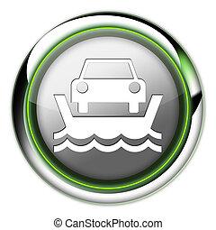 Icon, Button, Pictogram Vehicle Ferry - Icon, Button,...