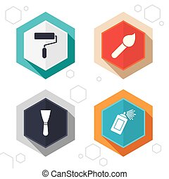 Paint roller, brush icon Spray can and Spatula - Hexagon...