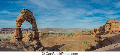 Delicate Arch Panorama - A panoramic shot of Delicate Arch...
