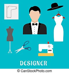 Fashion designer with sewing tools and clothing - Fashion...