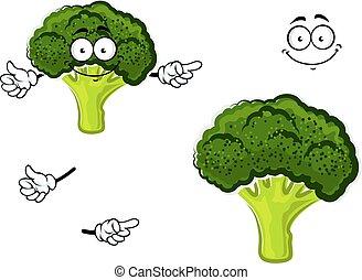 Cartoon broccoli vegetable with green head - Healthful...