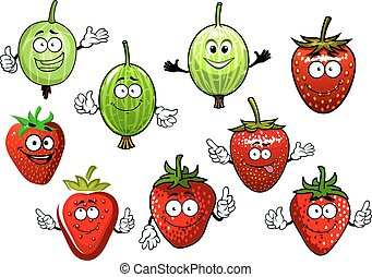 Cartoon strawberry and gooseberry fruits - Sweet red...