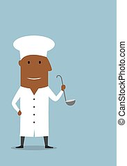 Chef or cook in white uniform with ladle - Smiling african...