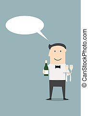 Waiter with champagne and wine glasses