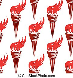 Seamless pattern of red burning torches