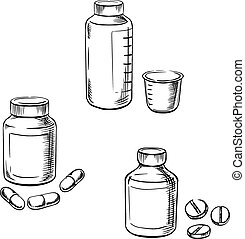 Bottles with pills, capsules and cough syrup - Medical...